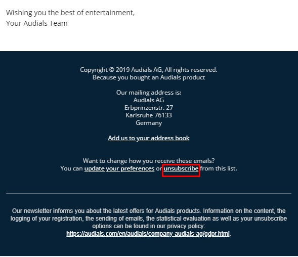 Unsubscribe from Newsletter – Audials Support